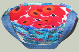 embroidered tub bag with 'Marimekko' fabric lining